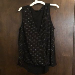 Black wrap bedazzled top